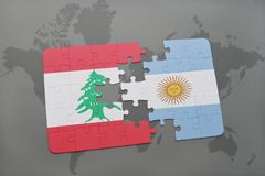 Puzzle with the national flag of lebanon and argentina on a world map background. Stock Photos
