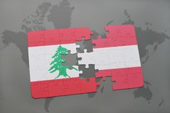 Puzzle with the national flag of lebanon and austria on a world map background. 3D illustration Stock Photography