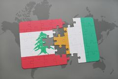 Puzzle with the national flag of lebanon and cote divoire on a world map background. 3D illustration Royalty Free Stock Photos