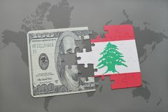 Puzzle with the national flag of lebanon and dollar banknote on a world map background. 3D illustration stock photo