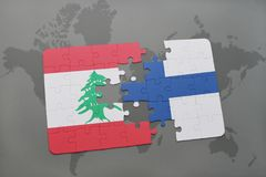 Puzzle with the national flag of lebanon and finland on a world map background. 3D illustration Royalty Free Stock Image