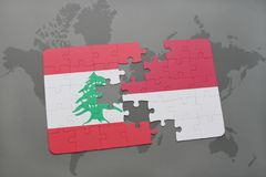 Puzzle with the national flag of lebanon and indonesia on a world map background. 3D illustration Royalty Free Stock Images