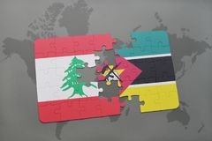 Puzzle with the national flag of lebanon and mozambique on a world map background. 3D illustration Stock Image