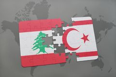 Puzzle with the national flag of lebanon and northern cyprus on a world map background. Royalty Free Stock Photo