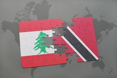 Puzzle with the national flag of lebanon and trinidad and tobago on a world map background. 3D illustration Royalty Free Stock Photos
