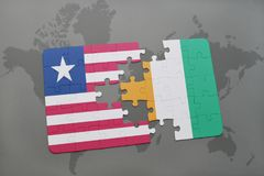 Puzzle with the national flag of liberia and cote divoire on a world map. Background. 3D illustration Stock Photos