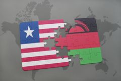 Puzzle with the national flag of liberia and malawi on a world map. Background. 3D illustration Stock Images