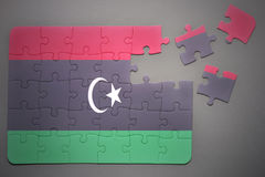 Puzzle with the national flag of libya Stock Images