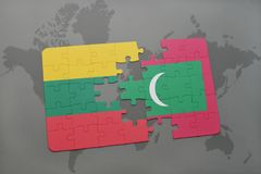 Puzzle with the national flag of lithuania and maldives on a world map. Background. 3D illustration Royalty Free Stock Photography