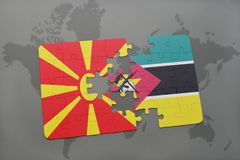 Puzzle with the national flag of macedonia and mozambique on a world map. Background. 3D illustration Stock Photo