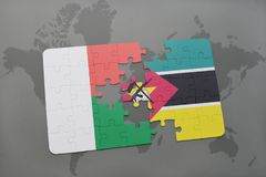 Puzzle with the national flag of madagascar and mozambique on a world map. Background. 3D illustration Stock Images