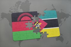 Puzzle with the national flag of malawi and mozambique on a world map Stock Photo