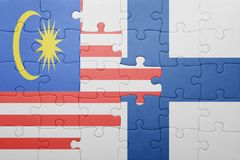 Puzzle with the national flag of malaysia and finland. Concept Stock Images