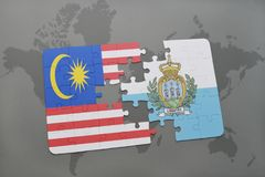 Puzzle with the national flag of malaysia and san marino on a world map background. 3D illustration Stock Photography