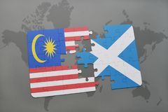 Puzzle with the national flag of malaysia and scotland on a world map background. 3D illustration Stock Images