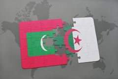 Puzzle with the national flag of maldives and algeria on a world map. Background. 3D illustration Stock Images