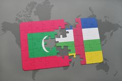 Puzzle with the national flag of maldives and central african republic on a world map. Background. 3D illustration Stock Photo