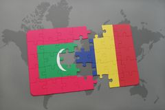 Puzzle with the national flag of maldives and chad on a world map. Background. 3D illustration Stock Photo