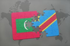 Puzzle with the national flag of maldives and democratic republic of the congo on a world map. Background. 3D illustration Stock Images
