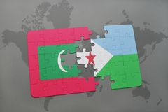 Puzzle with the national flag of maldives and djibouti on a world map. Background. 3D illustration Royalty Free Stock Photo
