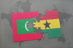 Puzzle with the national flag of maldives and ghana on a world map. Background. 3D illustration Stock Images