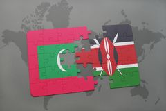 Puzzle with the national flag of maldives and kenya on a world map. Background. 3D illustration Stock Photos