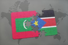 Puzzle with the national flag of maldives and south sudan on a world map. Background. 3D illustration Stock Image