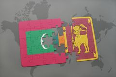 Puzzle with the national flag of maldives and sri lanka on a world map background. 3D illustration Stock Images