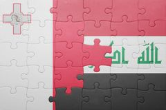 Puzzle with the national flag of malta and iraq. Concept Stock Photos