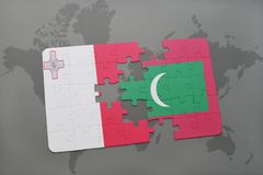 Puzzle with the national flag of malta and maldives on a world map Stock Image