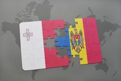 Puzzle with the national flag of malta and moldova on a world map background. Stock Photos