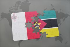 Puzzle with the national flag of malta and mozambique on a world map. Background. 3D illustration Stock Photos