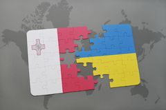 Puzzle with the national flag of malta and ukraine on a world map background. Stock Images