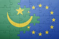 Puzzle with the national flag of mauritania and european union Stock Photo