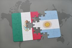 Puzzle with the national flag of mexico and argentina on a world map background. 3D illustration Royalty Free Stock Images