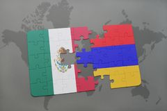 Puzzle with the national flag of mexico and armenia on a world map background. Stock Photo