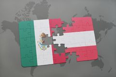 Puzzle with the national flag of mexico and austria on a world map background. 3D illustration Stock Images