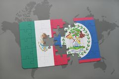 Puzzle with the national flag of mexico and belize on a world map background. 3D illustration Stock Photography