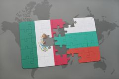 Puzzle with the national flag of mexico and bulgaria on a world map background. 3D illustration Royalty Free Stock Photos