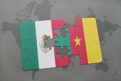 Puzzle with the national flag of mexico and cameroon on a world map background. 3D illustration Stock Image