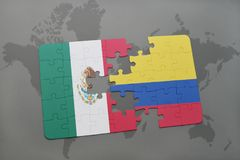 Puzzle with the national flag of mexico and colombia on a world map background. 3D illustration Royalty Free Stock Photos