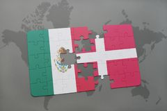 Puzzle with the national flag of mexico and denmark on a world map background. 3D illustration Royalty Free Stock Photos