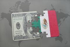 Puzzle with the national flag of mexico and dollar banknote on a world map background. 3D illustration Royalty Free Stock Image