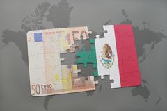 Puzzle with the national flag of mexico and euro banknote on a world map background. 3D illustration Royalty Free Stock Photography