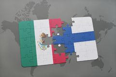 Puzzle with the national flag of mexico and finland on a world map background. 3D illustration Stock Photos