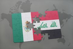 Puzzle with the national flag of mexico and iraq on a world map background. 3D illustration Royalty Free Stock Photos