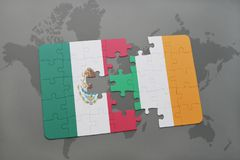 puzzle with the national flag of mexico and ireland on a world map background. Royalty Free Stock Photos
