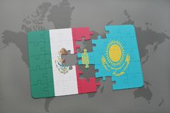 Puzzle with the national flag of mexico and kazakhstan on a world map background. 3D illustration Stock Photos