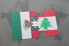 Puzzle with the national flag of mexico and lebanon on a world map background. 3D illustration Stock Images