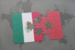 Puzzle with the national flag of mexico and morocco on a world map background. 3D illustration stock photo